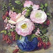 Картины и панно ручной работы. Ярмарка Мастеров - ручная работа Картина вышитая лентами Розы и фуксия. Handmade.