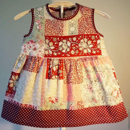Одежда для девочек, ручной работы. Ярмарка Мастеров - ручная работа. Купить Детское платье пэчворк и мелкий горох. Handmade. В горошек