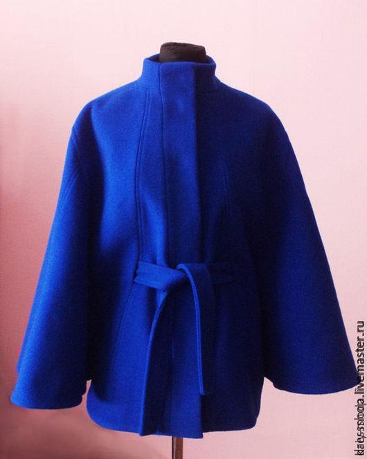 Верхняя одежда ручной работы. Ярмарка Мастеров - ручная работа. Купить Куртка-пончо - Ультра синий с подкладкой. Handmade.