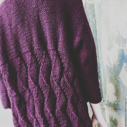 Кофты и свитера ручной работы. Ярмарка Мастеров - ручная работа. Купить Prune, ажурный теплый кардиган из 100% шерсти. Handmade.