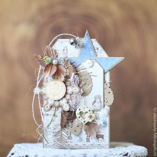 Открытки к Новому году ручной работы. Ярмарка Мастеров - ручная работа. Купить Новогодний ретро тег/открытка с цветами. Handmade. Бежевый