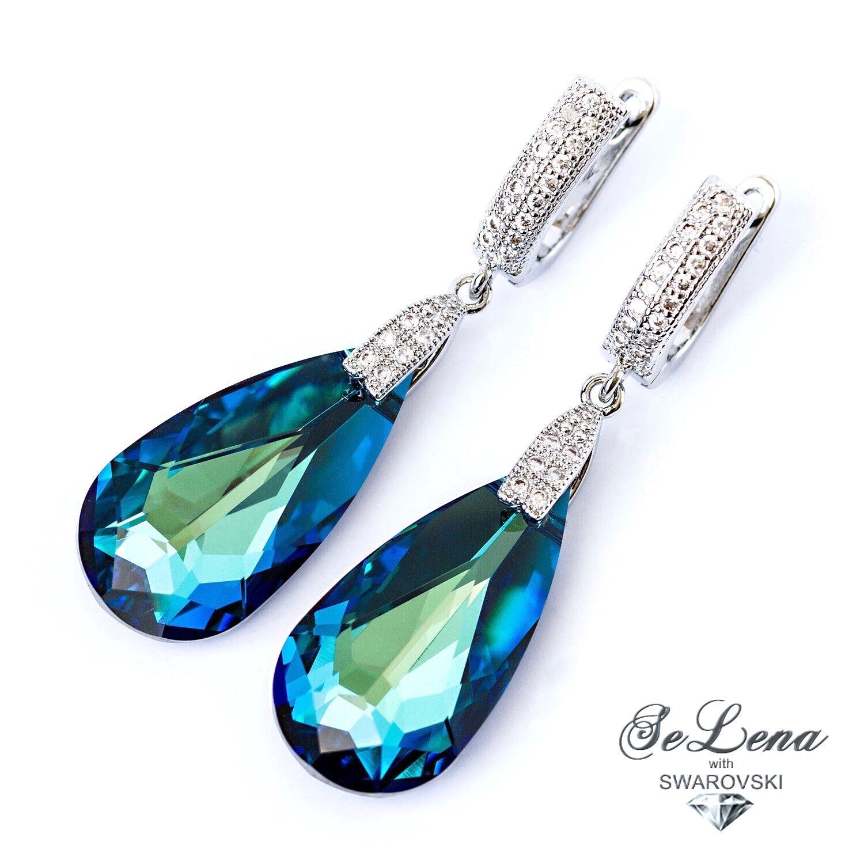 Earrings with crystals earrings Swarovski_Sinie Swarovskies earrings, Earrings, St. Petersburg,  Фото №1