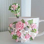 Посуда handmade. Livemaster - original item Mugs: Mugs decorated with polymer clay. Handmade.