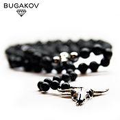 Украшения handmade. Livemaster - original item Beads / Necklace Onyx and Lava with silver skull. Handmade.