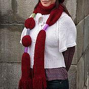 Аксессуары ручной работы. Ярмарка Мастеров - ручная работа Шарф Шарфик вязаный красный (бордовый, алый). Handmade.