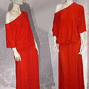 Одежда handmade. Livemaster - original item Knitted dress with a flat shoulder Orange. Handmade.