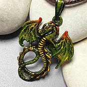 Украшения handmade. Livemaster - original item Green Money Dragon Greenus-dragon pendant with painting. Handmade.