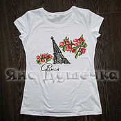 Одежда handmade. Livemaster - original item T-shirt  hand painted Paris and flowers. Handmade.