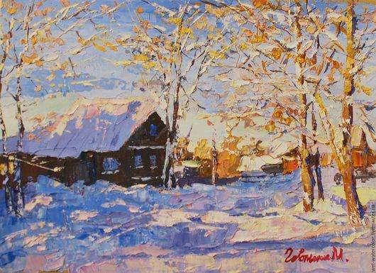 Пейзаж ручной работы. Ярмарка Мастеров - ручная работа. Купить Зимний пейзаж. Handmade. Разноцветный, картина маслом, картина в подарок