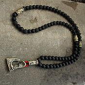 Украшения handmade. Livemaster - original item Men`s beads from shungit and lava axe. Handmade.