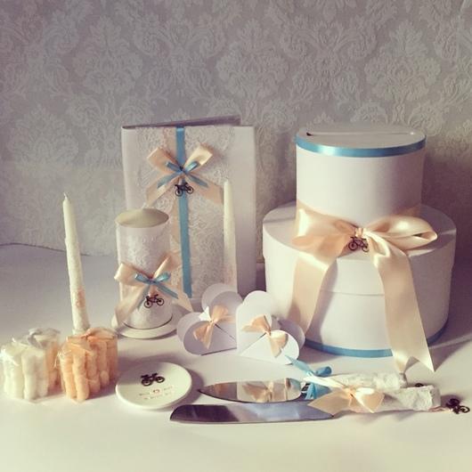 Свадебные аксессуары ручной работы. Ярмарка Мастеров - ручная работа. Купить Коллекция аксессуаров Вело свадьба в персиковом и голубом цвете. Handmade.