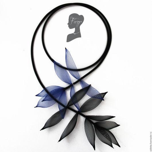 """Колье, бусы ручной работы. Ярмарка Мастеров - ручная работа. Купить Колье """"Листья на память"""". Handmade. Черный, сетка, листья"""