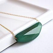 Украшения handmade. Livemaster - original item Necklace with a stone, pendant on a chain, green agate fantasy. Handmade.