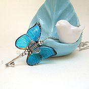 Украшения handmade. Livemaster - original item Transparent Pendant Key Blue Butterfly Vintage Key on a Chain Boho. Handmade.