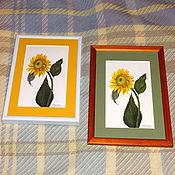 Картины и панно ручной работы. Ярмарка Мастеров - ручная работа Постер картины акварелью Подсолнушек желтый зеленый подсолнух. Handmade.