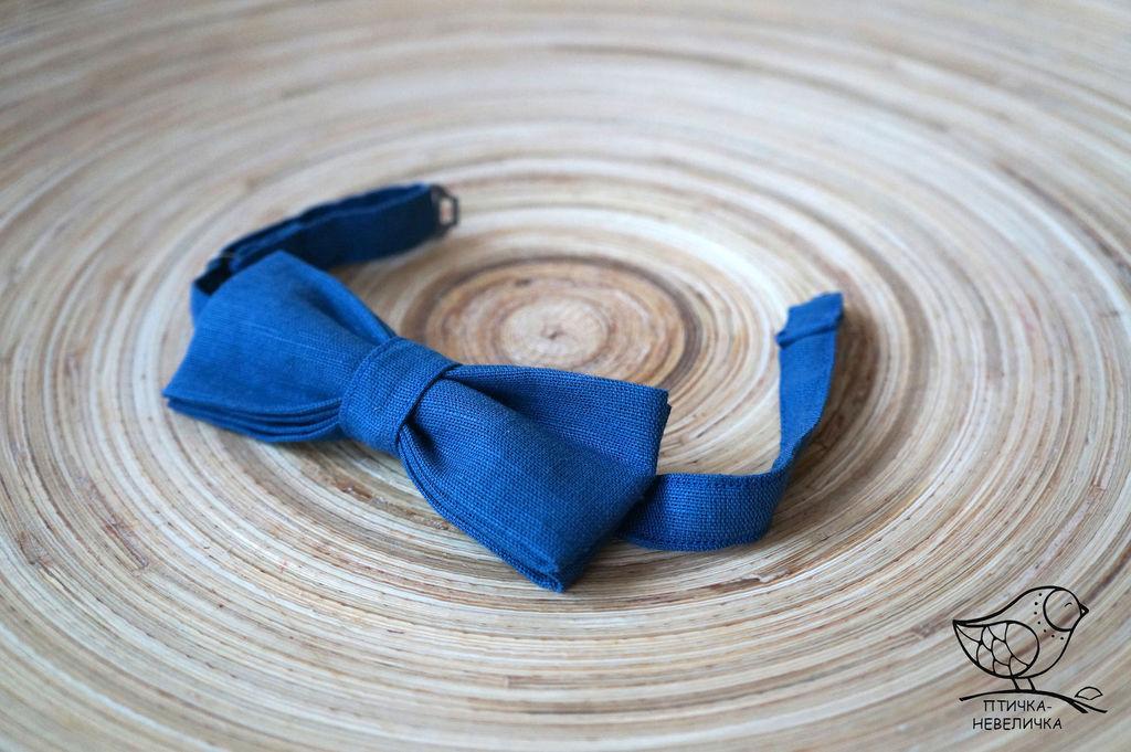 Детская галстук-бабочка из льняной ткани синяя, Галстуки, Нижний Новгород, Фото №1