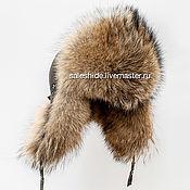 Мужская шапка ушанка из меха волка (койот)