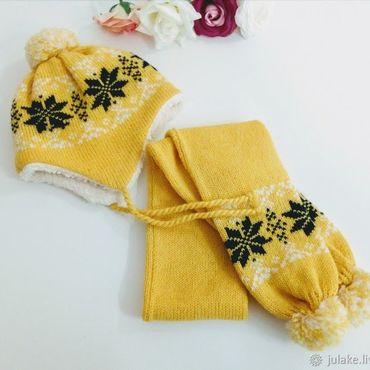 Works for children handmade. Livemaster - original item Set: scarf and hat. Handmade.
