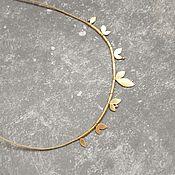 Украшения ручной работы. Ярмарка Мастеров - ручная работа Шнурок на шею со множеством подвесок. Колье с листиками. Handmade.