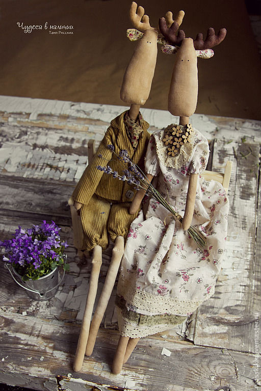 Куклы Тильды ручной работы. Ярмарка Мастеров - ручная работа. Купить Пара текстильных тильда - лосей Он и Она. Handmade.