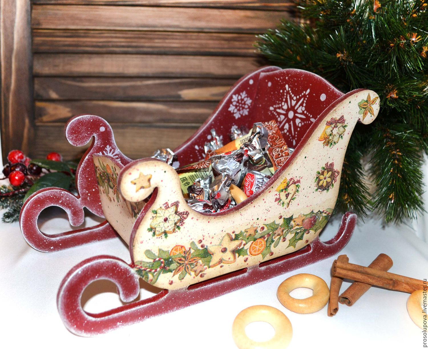 Christmas sleigh decoupage – shop online on Livemaster