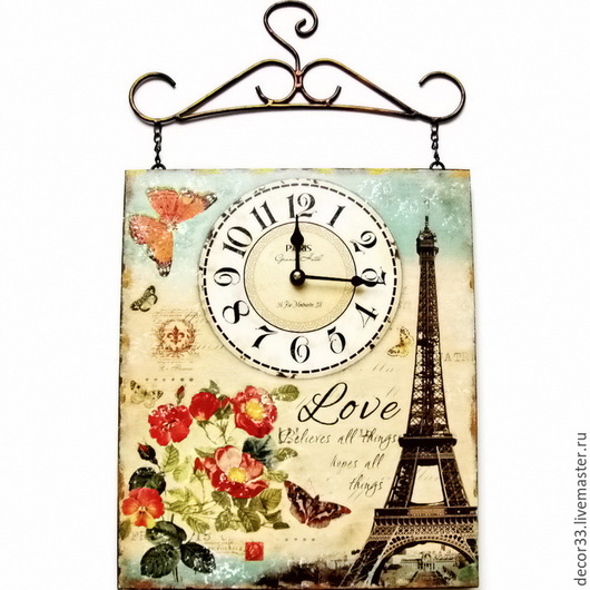 Часы для дома ручной работы. Ярмарка Мастеров - ручная работа. Купить Часы настенные Винтажная штучка. Handmade. Разноцветный, текстура