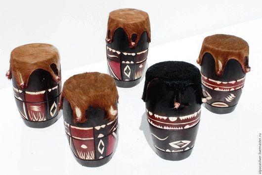 Ударные инструменты ручной работы. Ярмарка Мастеров - ручная работа. Купить Барабан из дерева и кожи, африканский стиль. Handmade. Коричневый