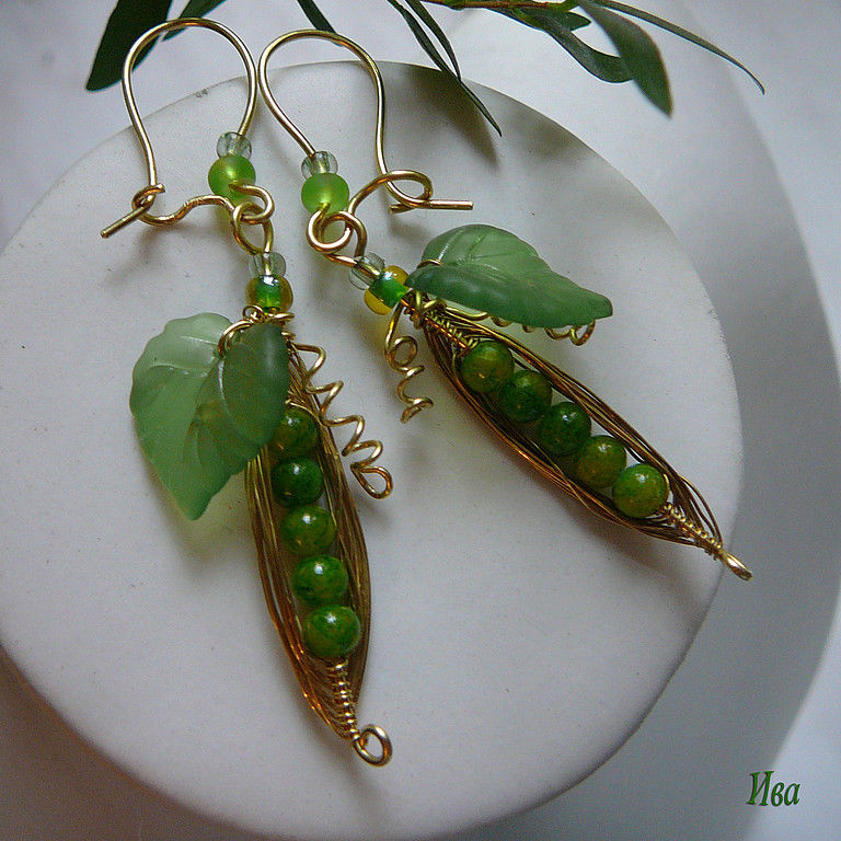 Earrings handmade. Livemaster - handmade. Buy Earrings made of brass 'Ripe peas'.Handmade, decoration