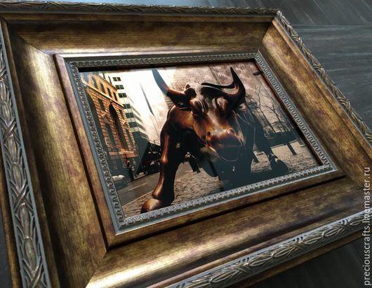 Город ручной работы. Ярмарка Мастеров - ручная работа. Купить Картина Атакующий бык.. Handmade. Картина, картина на стекле