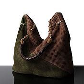 Сумки и аксессуары handmade. Livemaster - original item Granville Olive olive suede bag, perforated. Handmade.