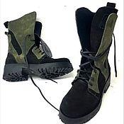 Ботинки ручной работы. Ярмарка Мастеров - ручная работа Ботинки `хаки`. Handmade.