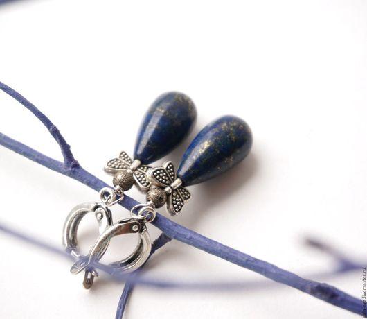 """Серьги ручной работы. Ярмарка Мастеров - ручная работа. Купить Серьги с лазуритом """"Бабочка"""". Handmade. Тёмно-синий, подарок для женщины"""