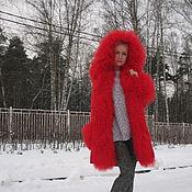 """Одежда ручной работы. Ярмарка Мастеров - ручная работа Куртка-парка """" Красная """" с ламой. Handmade."""