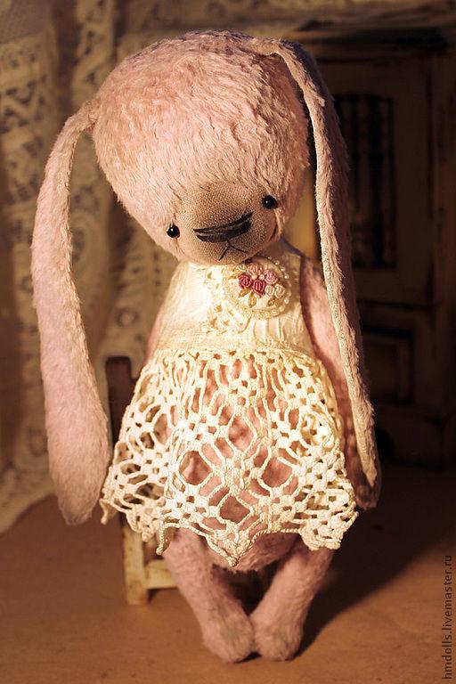 Мишки Тедди ручной работы. Ярмарка Мастеров - ручная работа. Купить Роза, ретро- зайка. Handmade. Бледно-сиреневый, рококо