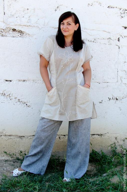 Большие размеры ручной работы. Ярмарка Мастеров - ручная работа. Купить Летнее платье - туника с пчелками.. Handmade.