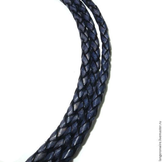 Для украшений ручной работы. Ярмарка Мастеров - ручная работа. Купить Шнур кожаный плетеный 3,0 мм. Цвет - синий серебристый.. Handmade.