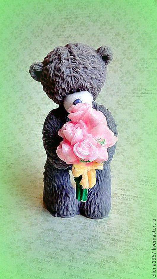 Мыло ручной работы. Ярмарка Мастеров - ручная работа. Купить Мыло Мишка  с букетом роз. Handmade. Серый, розы