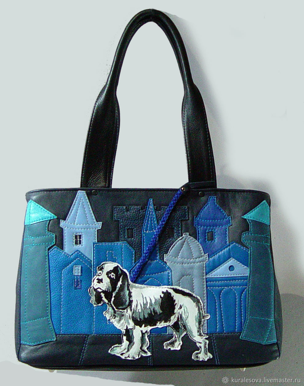 Handbags handmade. Livemaster - handmade. Buy Bag 'Russian Spaniel' 2 Department.Handmade, dark blue, shoulder bags