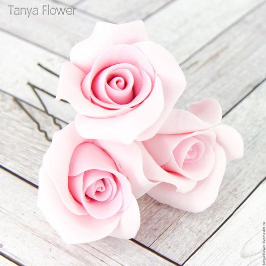 Свадебные украшения ручной работы. Ярмарка Мастеров - ручная работа. Купить Шпильки с розовыми розами (маленькие). Handmade. Украшение для волос