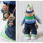 Куклы и игрушки ручной работы. Ярмарка Мастеров - ручная работа Кот-рыбак. Сине-зеленый.. Handmade.
