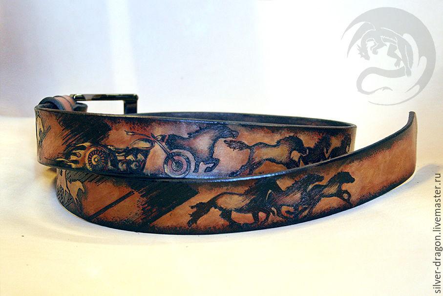 Ремень `Iron horse `  Кожевенная мастерская `Silver Dragon`