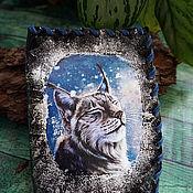 Канцелярские товары handmade. Livemaster - original item leather passport cover Lynx (2). Handmade.