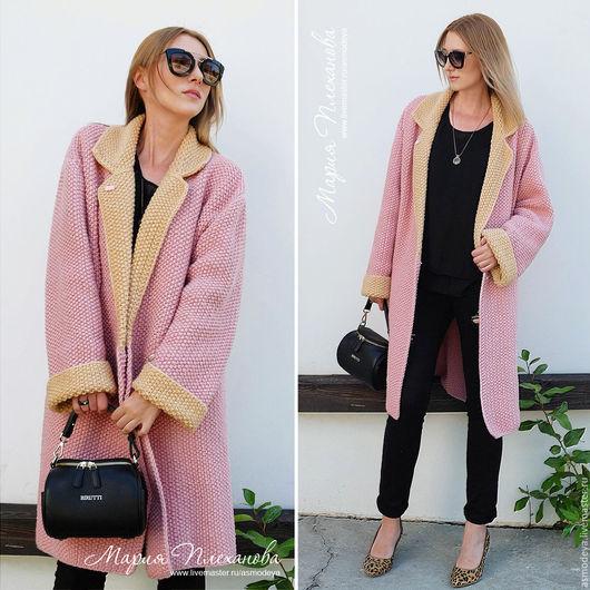 Верхняя одежда ручной работы. Ярмарка Мастеров - ручная работа. Купить Пальто вязаное двухцветное bicolor. Handmade. Бледно-розовый