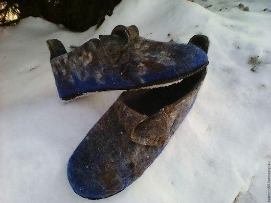 Обувь ручной работы. Ярмарка Мастеров - ручная работа. Купить Тапочки домашние мужские. Handmade. Синий, подарок мужчине, бергшаф