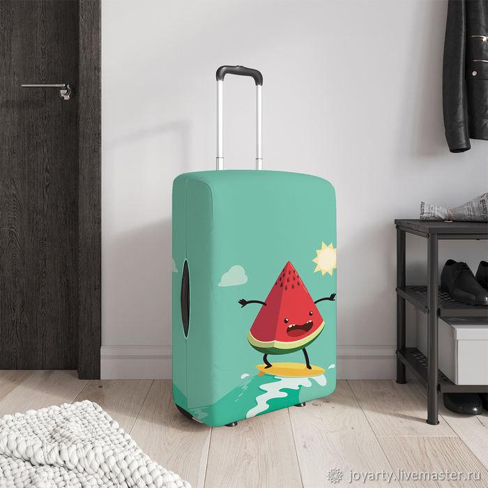 Чехол для чемодана «Арбуз на серфе» (S,M,L/XL), Сумки и аксессуары, Москва,  Фото №1
