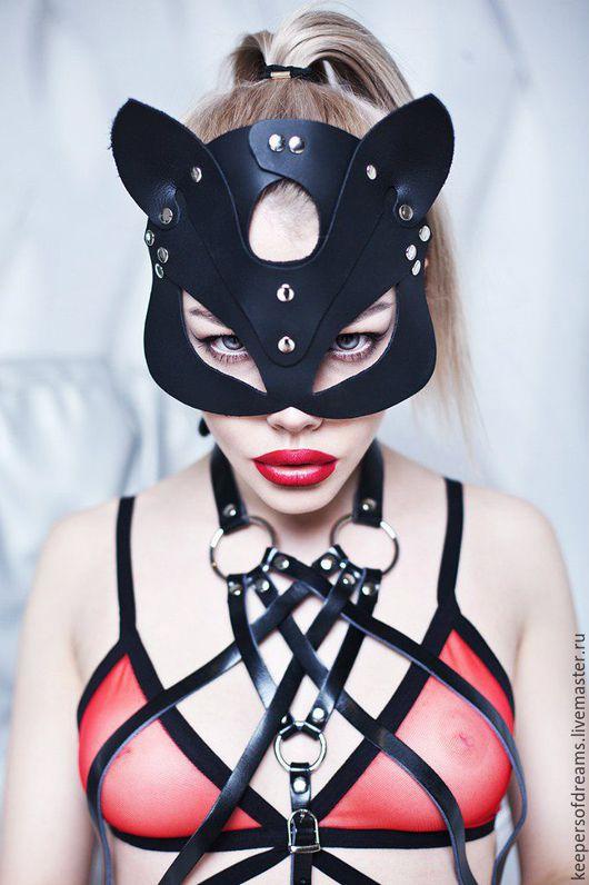 Ролевые игры ручной работы. Ярмарка Мастеров - ручная работа. Купить Маска кошки кожаная. Handmade. Черный, кожаная маска