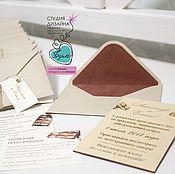 Свадебный салон ручной работы. Ярмарка Мастеров - ручная работа Деревянные приглашения в конверте. Handmade.