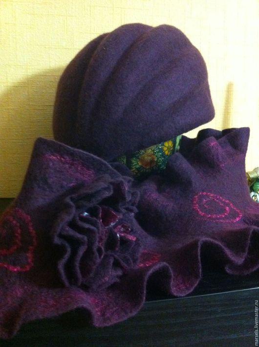 Шапки ручной работы. Ярмарка Мастеров - ручная работа. Купить Шапка женская  валяная из шерсти. Handmade. Бордовый, шляпка из шерсти