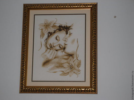 """Люди, ручной работы. Ярмарка Мастеров - ручная работа. Купить Вышитая картина """"Влюбленная пара"""". Handmade. Вышивка крестом, романтика"""