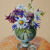 """Картины и панно ручной работы. Ярмарка Мастеров - ручная работа """"Полевые цветы и бабочка"""". Handmade."""